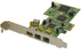 PCI Express to FireWire 800 (IEEE 1394b/a) Host Adapter 3+1 Ports