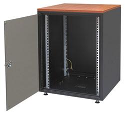 Шкаф напольный серии SJB, 15U, 737x600х500мм (ВхШхГ), стекл. дверь, цвет черный (RAL 9005), столешница Calvados