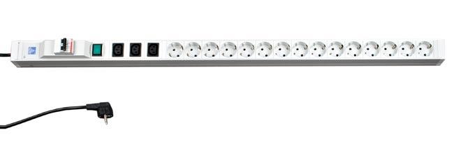 (Schuko) Блок розеток, 15 розеток + 3 IEC 320 C13, с индикатором и автоматом (длина 1080 мм)