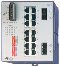 14 портов 10/100BASE-TX с RJ45 (ТР - 100м), 2 порта 100BASE-FХ с SC (SMF 1300 - до 32,5 м); Защ.IP 20; DIN-rail; RS2-16 2SM SC