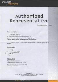 Сертификат компании Fluke-Networks