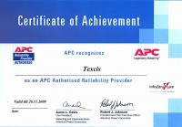 Сертификат компании APC: Authorised Reliability Provider