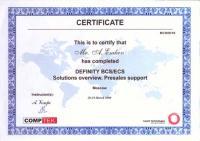 Сертификат компании Definity